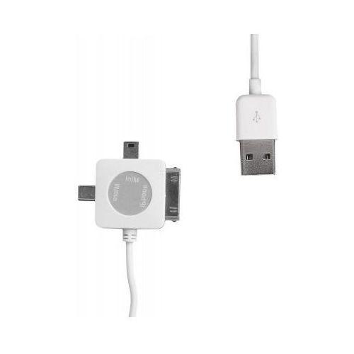 Kabel WHITENERGY USB 2.0 - mini/micro/30-pin 1m Biały (akcesoria tv)