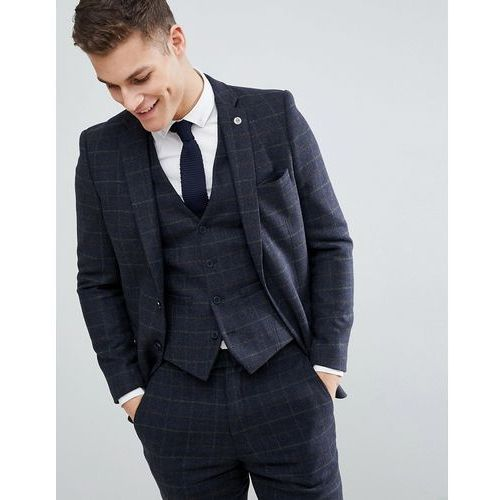 French Connection Brushed Flannel Slim Fit Tobacco Check Suit Jacket - Blue, kolor niebieski