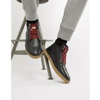 leather brogue boots in black - black marki Original penguin