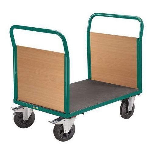 Wózek platformowy, 2 ścianki czołowe, ogumienie pełne, dł. x szer. 1250x800 mm, marki Eurokraft active green