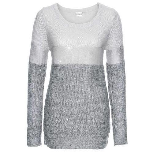 Sweter z metalicznym nadrukiem  ciemnoszaro-jasnoszaro-srebrny, Bonprix, 32-54