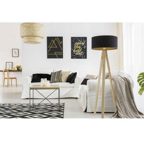 Lampa podłogowa na trójnogu z abażurem wanda jesionowa - kolor czarny marki Ragaba