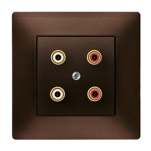 Elektroplast  volante gniazdo podwójne głośnikowe czekoladowy 2658-04 (5902012985878)
