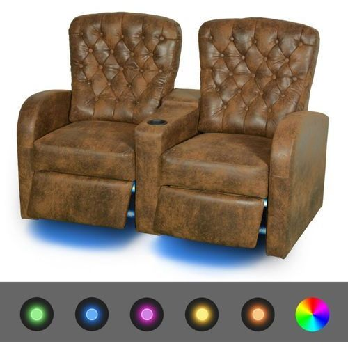 vidaXL Fotele kinowe 2 osobowe, brązowa, sztuczna skóra z podświetleniem LED