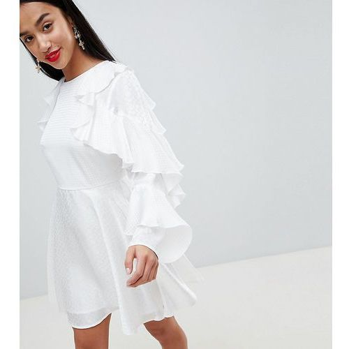 Asos design petite jacquard mini dress with ruffle sleeves and cut out back - white, Asos petite