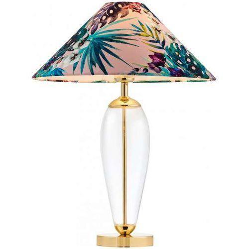 Stojąca LAMPA stołowa FERIA 40909116 Kaspa biurkowa LAMPKA abażurowa z motywem roślinnym złote przezroczysta różowa (1000000568035)