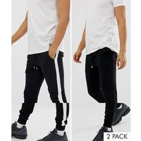 Asos design super skinny joggers 2 pack black / black and white side stripe - black