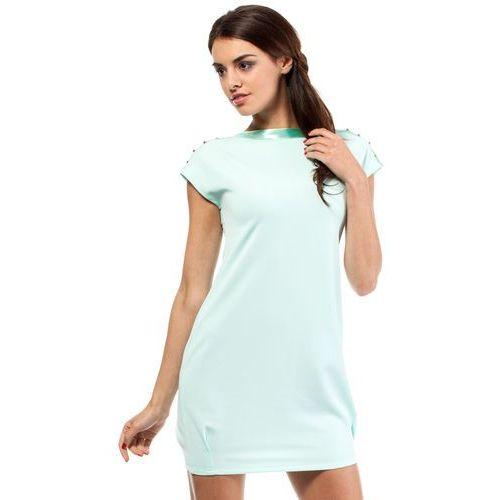 Moe Mini sukienka - tunika ze złotymi ćwiekami 028 miętowa