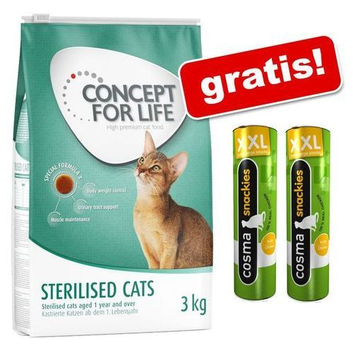 3 kg Concept for Life + Cosma Snackies, kurczak, 2 x 30 g gratis! - Indoor Cats (4260358512327)