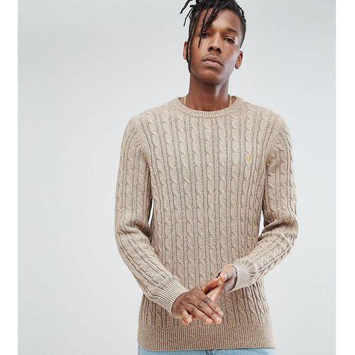 Farah ludwig twisted yarn cable knit jumper in oatmeal - grey