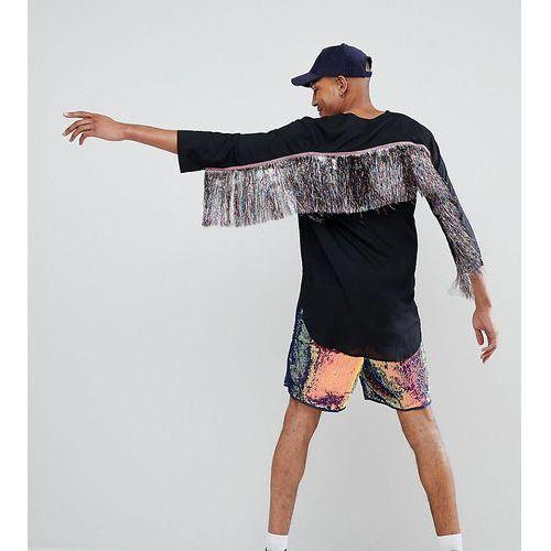 design tall festival regular fit longline shirt with rainbow tassles - black marki Asos