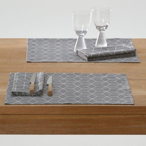 Wzorzyste podkładki na stół z polycotonu diamond (2 szt.) marki La redoute interieurs