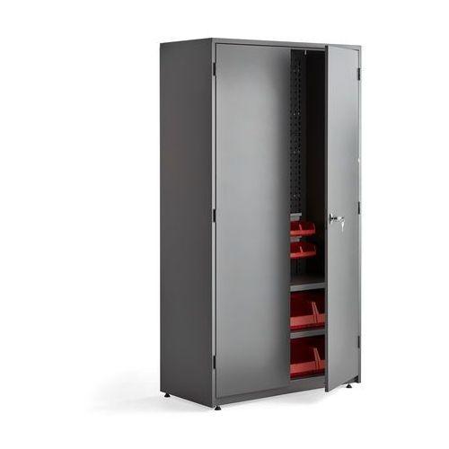 Aj produkty Szafa warsztatowa supply, 2 półki, panel narzędziowy, 24 pojemniki,1900x1020x500 mm, szary