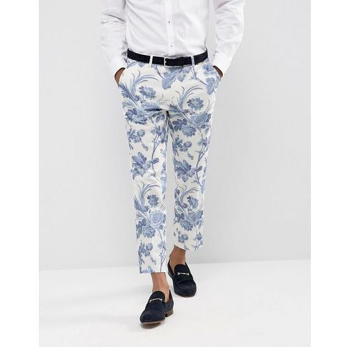 ASOS Wedding Skinny Suit Trousers In Blue and White Cotton Floral Print - Blue