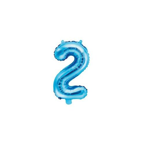 Party deco Balon foliowy cyfra 2 niebieska - 35 cm (5902230779891)
