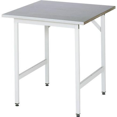 Stół roboczy, z regulacją wysokości,800 - 850 mm, blat z okładziną z blachy stalowej