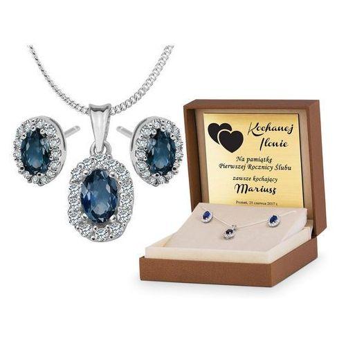 Murrano Srebrny komplet zestaw biżuterii 925 z grawerem ys19