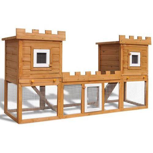 vidaXL Duża klatka dla królików/domek zwierząt, konstrukcja 2-piętrowa