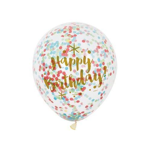 Unique Balony przezroczyste z nadrukiem oraz konfetti w środku - 30 cm - 6 szt.