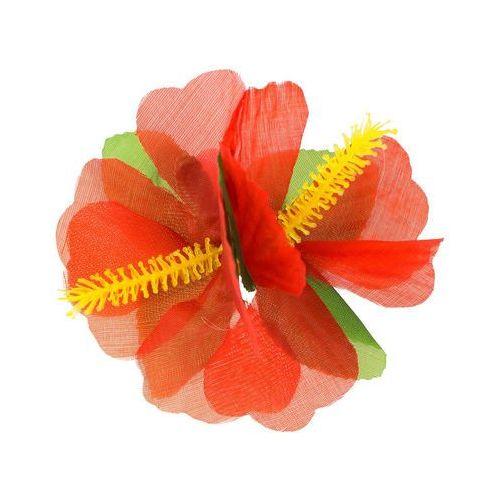 Go Hawajska przypinka duża kwiatek czerwony - 1 szt.
