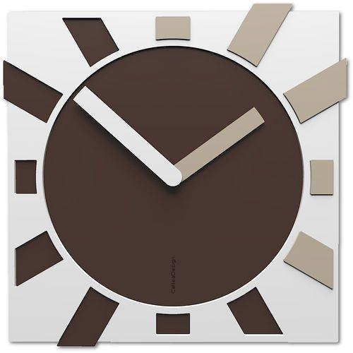 Zegar kwadratowy na ścianę jap-o brązowy / piaskowy / biały (10-023-12) marki Calleadesign