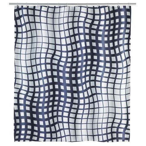 Wenko Zasłona prysznicowa, wodoodporna, antybakteryjna, anty-pleśniowa, 180 x 200 cm, 12 pierścieni, poliester, biało-czarna