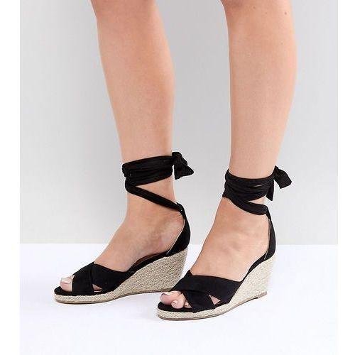 Truffle Collection Wide Fit Espadrille Wedge Sandal - Black, kolor czarny