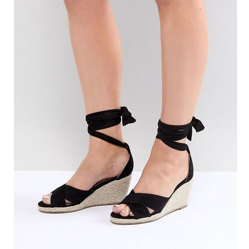 Truffle Collection Wide Fit Espadrille Wedge Sandal - Black