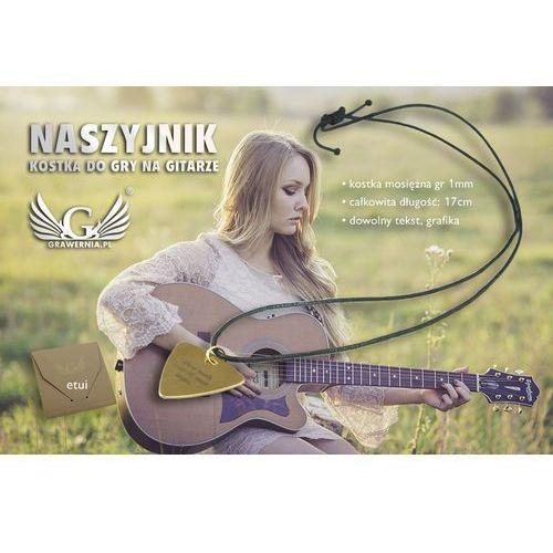 Naszyjnik kostka do gry na gitarze z własną grafiką i tekstem - mosiądz - KG04