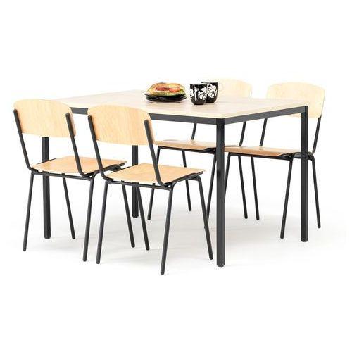 Zestaw do stołówki, stół 1200x800 mm, brzoza + 4 krzesła, brzoza/czarny, 115744