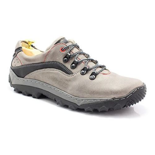 Kent 268 szary - polskie buty trekkingowe,skóra - szary   czarny