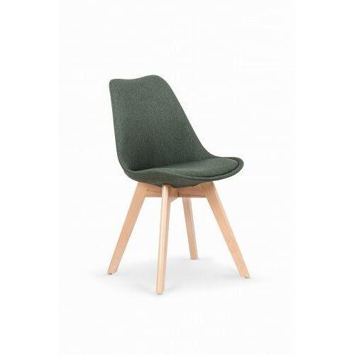 Krzesło tapicerowane w stylu skandynawskim K303 ciemny zielony, kolor zielony