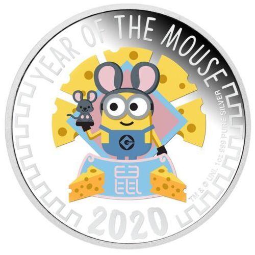 Srebrna moneta Minionki - Rok Myszy 2020