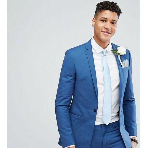 Noak TALL Super Skinny Wedding Suit Jacket with Square Hem in Blue - Blue, kolor niebieski