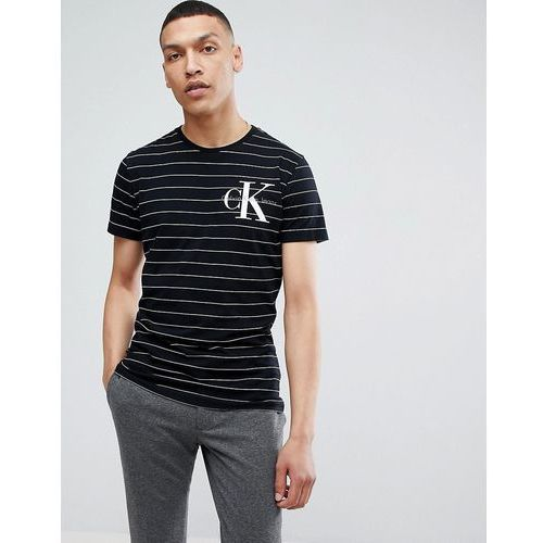 Calvin klein jeans t-shirt with stripes and chest logo - black