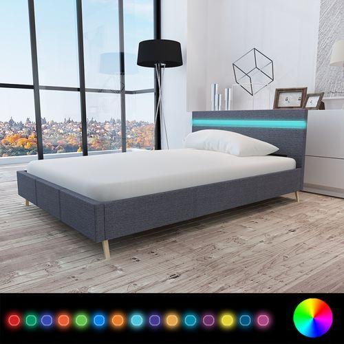 vidaXL Rama łóżka z materiałowym CIEMNO SZARYM obiciem + pas LED 200 x 140 cm, kolor szary