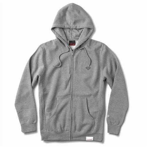 Bluza - micro brilliant zip hoodie heather grey (htgr) rozmiar: l marki Diamond