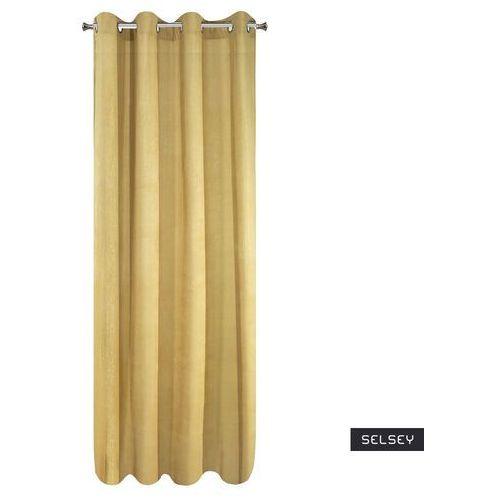 Selsey zasłona berven 140x250 cm zaciemniająca z imitacją sztruksu musztardowa (5903025475165)