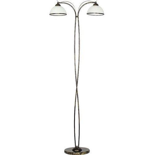 Luminex Lampa podłogowa stojąca oprawa korfu 2x60w e27 biały/patyna 4042 (5907565940428)