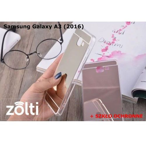 Zestaw   Slim Mirror Case Złoty + Szkło ochronne Perfect Glass   Etui dla Samsung Galaxy A3 (2016)