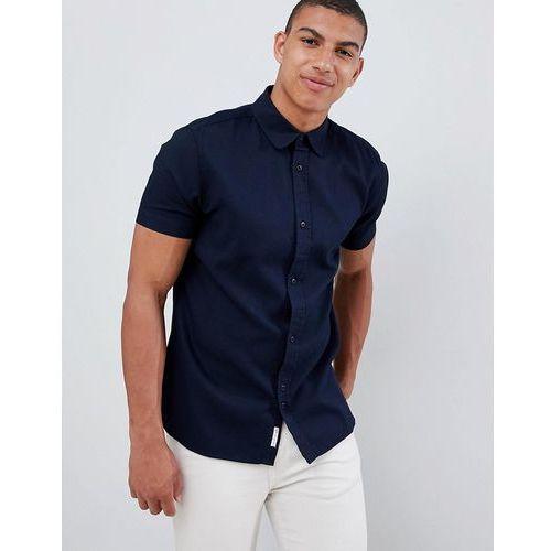 Bellfield waffle short sleeve shirt - navy