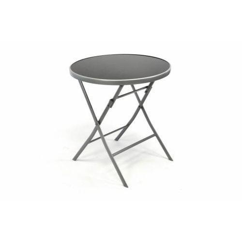 Garden Bistro stół składany z blatem szklanym - srebrny