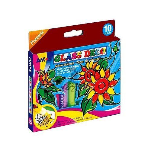 Farby witrażowe 10 kolorów x 10,5ml Glass Deco Amos GD10P10