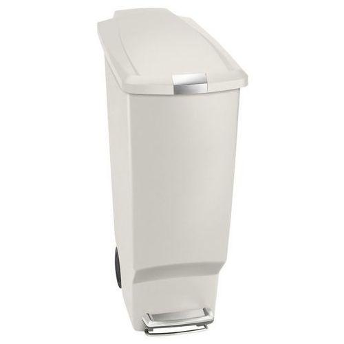 Simplehuman - Kosz na śmieci 40 L pedałowy SLIM - biały, kolor biały