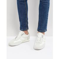 Boss suede nylon mix trainers in white - white