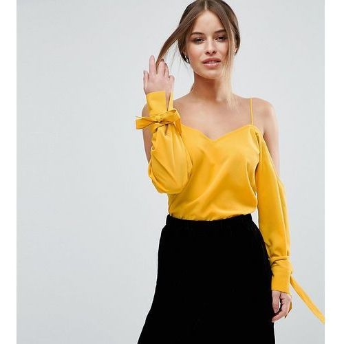 ASOS PETITE Cold Shoulder Top With Cuff and Tie - Yellow