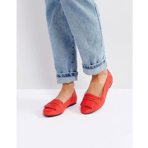fringe flat slipper with buckle - red, London rebel