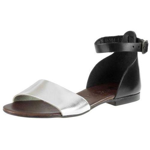 Sandały 49204 - czarne 11 srebrne f (brązowa wkładka) marki Nessi