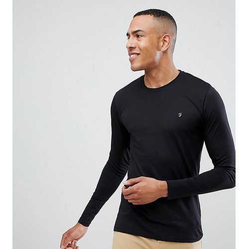 farris slim fit logo long sleeve t-shirt in black exclusive at asos - black, Farah, XS-XL