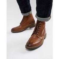 Base london hopkins brogue boots in tan leather - tan
